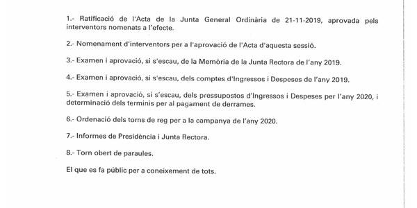 CONVOCATÒRIA COL·LECTIVITAT DE REGANTS N.8 - 12/03/2020 - 20h.