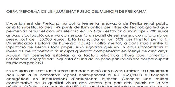 """OBRA """"REFORMA DE L'ENLLUMENAT PÚBLIC EXTERIOR DEL MUNICIPI DE PREIXANA"""""""