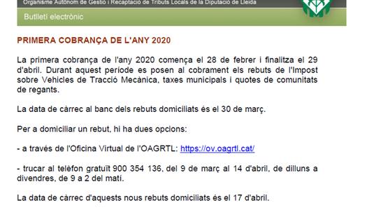 PRIMERA COBRANÇA 2020