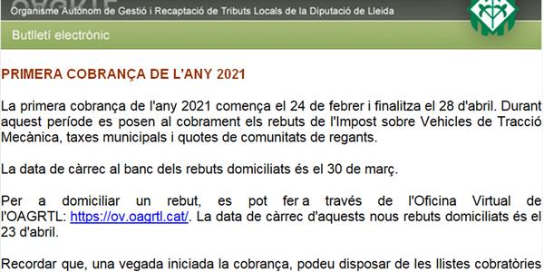 PRIMERA COBRANÇA 2021