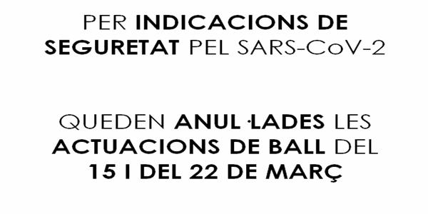 SESSIONS DE BALL ANUL·LADES 15 I 22 MARÇ