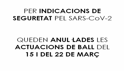 SESSIONS DE BALL ANUL·LADES 15 I 22 MARÇ